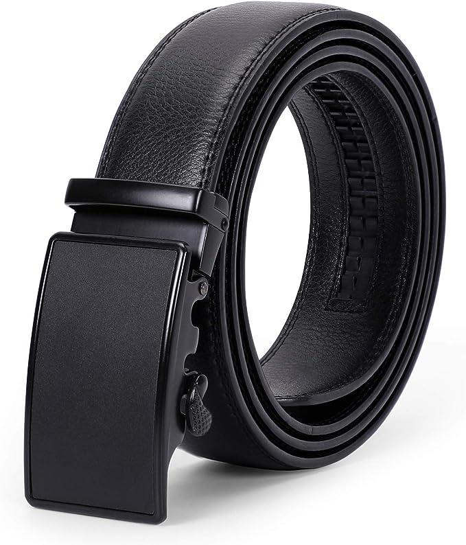 Amazon.com: Cinturón de piel con trinquete para hombre con ...