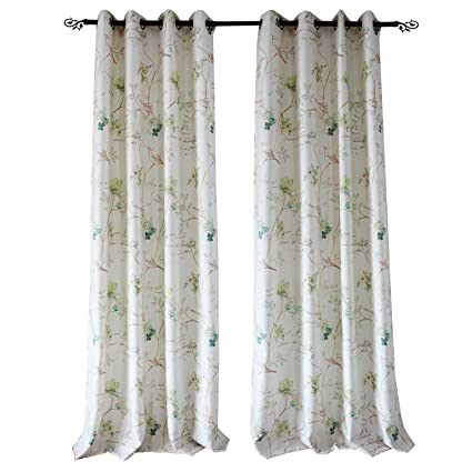 Living Room Curtains Flower Bird Drapes   Anady 2 Panel Green Print Country  Curtains For Living