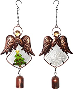 Tbrand Angel Wind Chimes, Set of 2 Christmas Decor Wind Bells, Indoor and Outdoor Decoration, Metal Musical Wind Chime for Church,Home, Patio, Festival Gifts for Mom