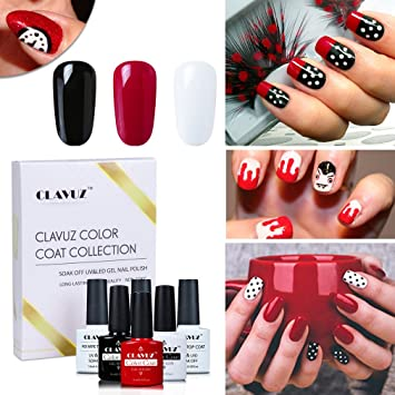 Amazon Clavuz Gel Nail Polish Black Red White With Top And