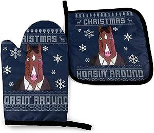 667 Christmas Horsin Around BoJack Horseman -Oven Mitts and Pot Holders Heat Resistant Kitchen Bake Gloves Cooking Gloves