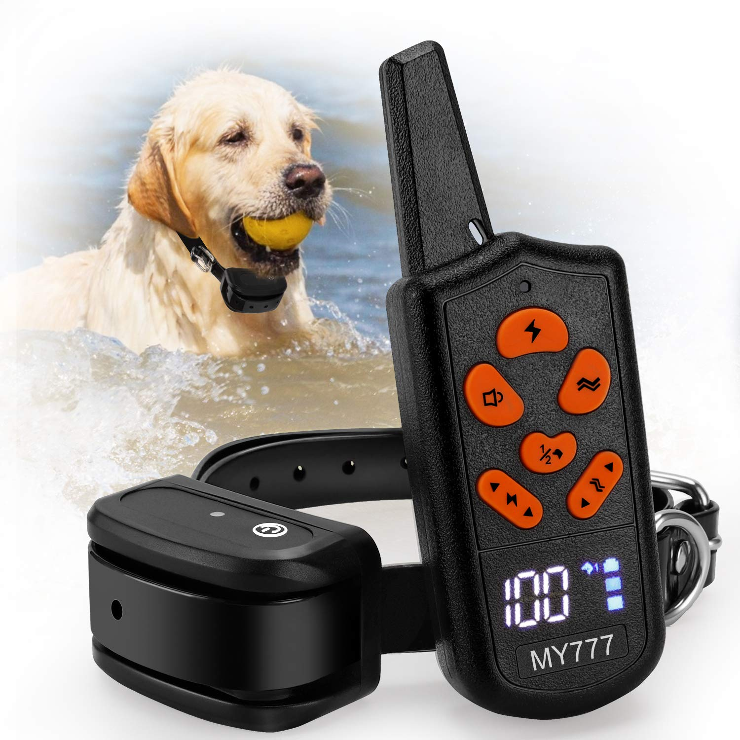 Dog Training Collar with Remote-Shock Collar for Dogs Large,Medium,Small-Waterproof E-Collar w/ 3 Correction Modes, Beep, Vibration,Shock|Pet Tech Dog Collar offer 1~100 Shock Levels ,1600ft Remote by zenvey