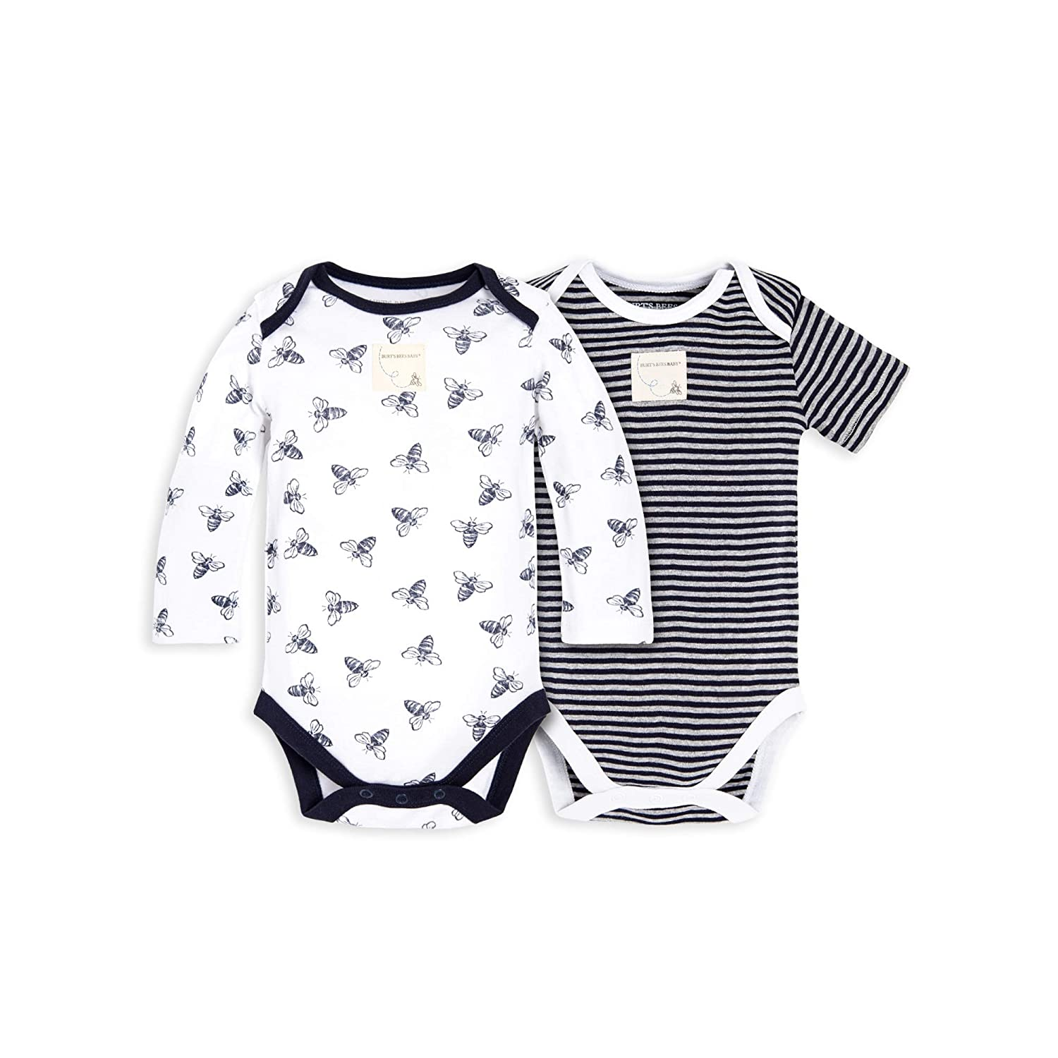 Burt's Bees Baby - Unisex Baby Bodysuits, 2-Pack Organic Cotton Short & Long Sleeve One-Pieces