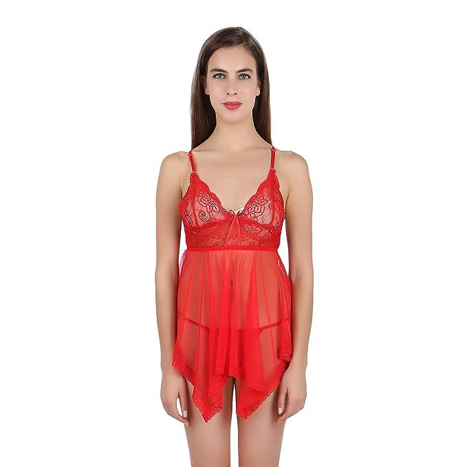 FIHA Babydoll Sexy Night Dress Lingerie Nighty for Women Nightwear (Red)  (RIOE-BD-XL401-RD)  Amazon.in  Clothing   Accessories aba3c92f7