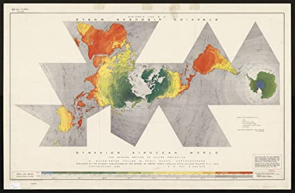 Amazon historic map world map 1954 dymaxion airocean world historic map world map 1954 dymaxion airocean world the raleigh edition of fuller gumiabroncs Images