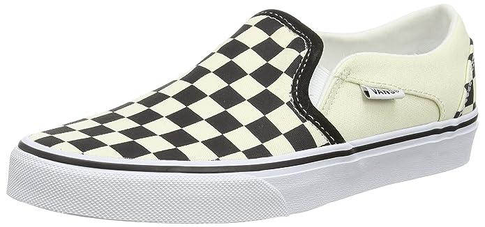 Vans Asher Damen Slip On Schuhe Schwarz Weiß Kariert