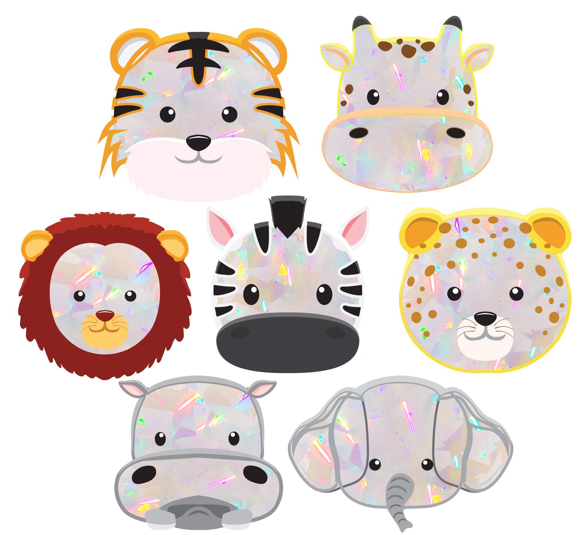 Rainbow Symphony Window Decals – Baby Safari Animals Suncatcher – Holographic Rainbow Window Stickers