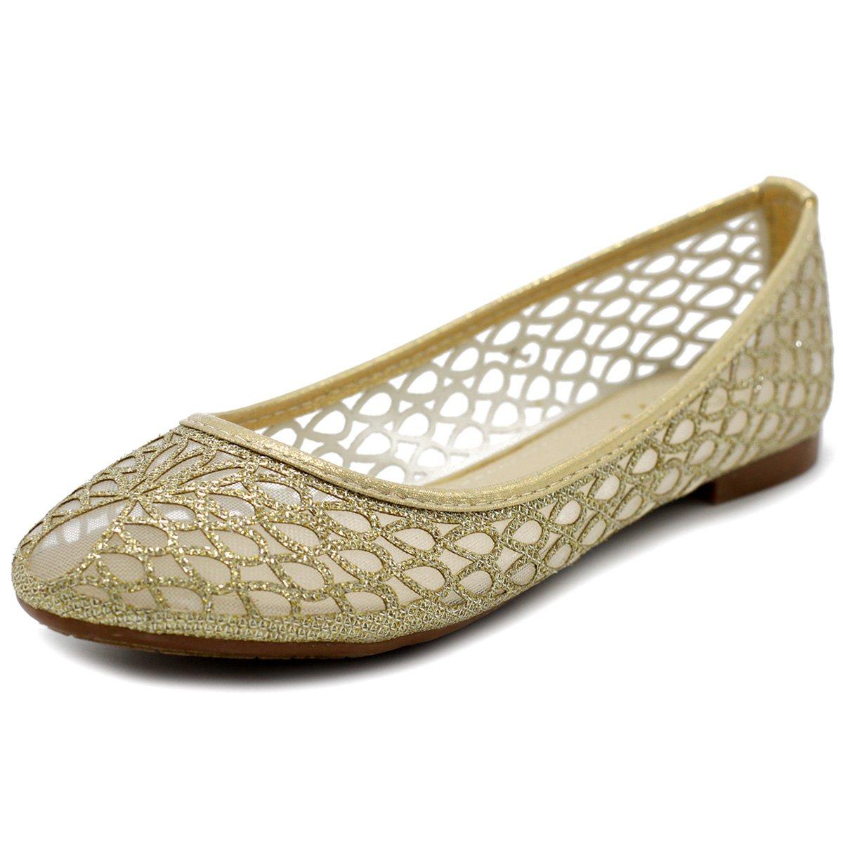 Ollio Women's Shoe Breathable Mesh Glitter Comfort Slip-on Ballet Flat 2 Styles BN10(9 B(M) US, Style2-Gold)