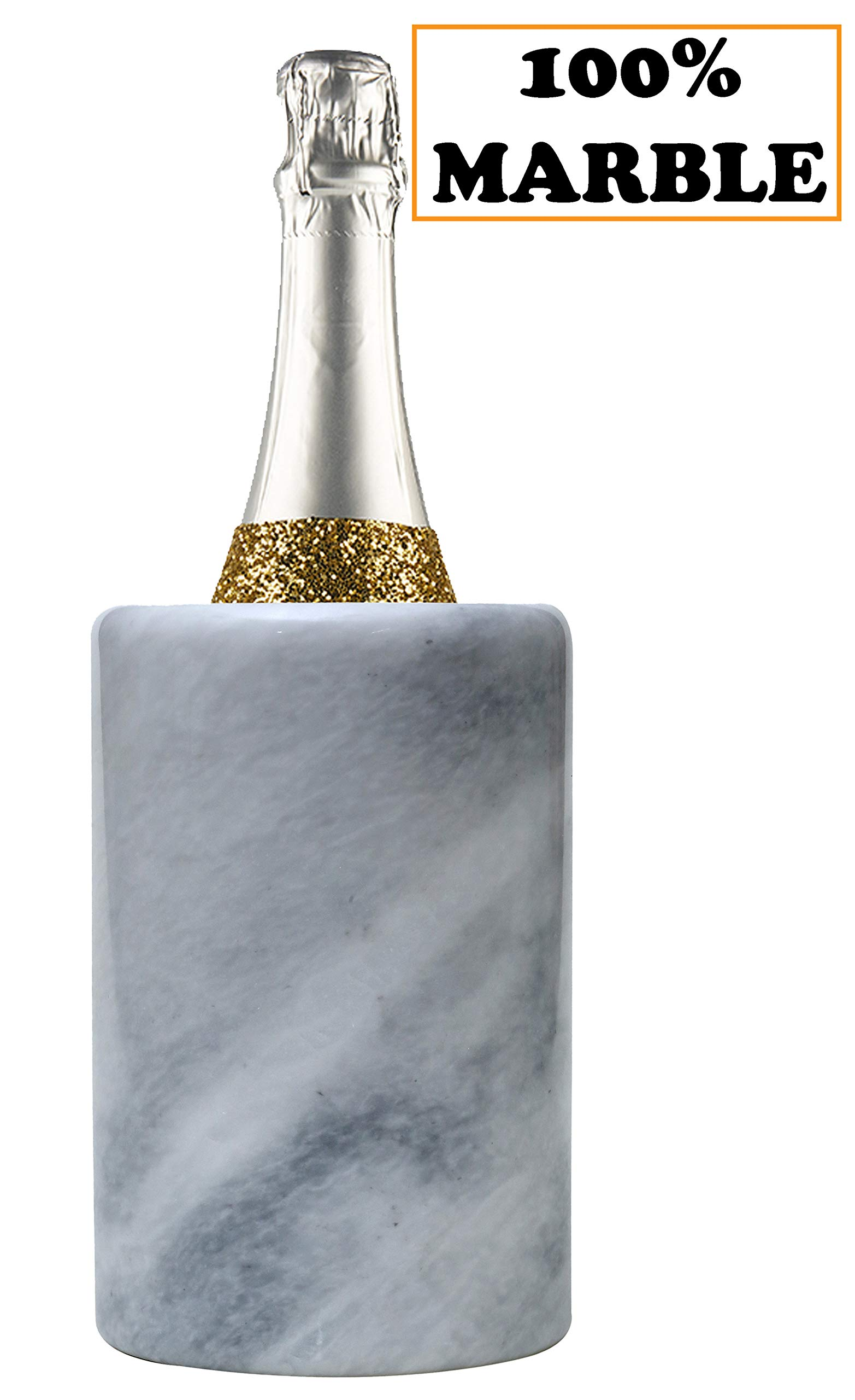 Wine Chiller White Table Top Handmade Marble Wine Chillers for Champagne - Tall 5x5x6.5 Inch'' Beverage Freeze Cooler Holder - Use as Utensils, Stationery & Centerpiece Bar Decor (WZ-03) by RADICALn (Image #1)