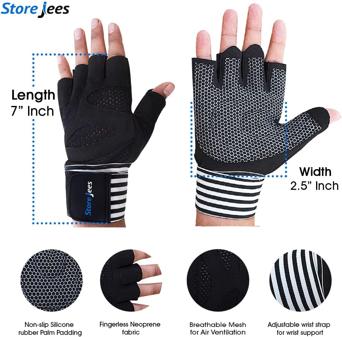 STOREJEES Weight Lifting and Work Out Gym Gloves with Wrist Support Fingerless Ventilated Pair for Men and Women Full Palm and Thumb Protection and Natural Grip for Crossfit Training Exercises