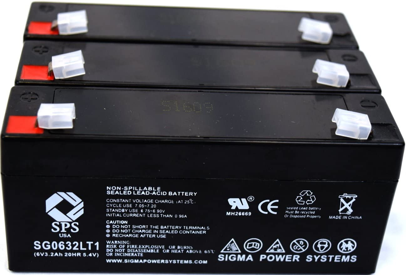 3 Pack SPS Brand 8V 3.2 Ah Replacement Battery for Quantum Turbo