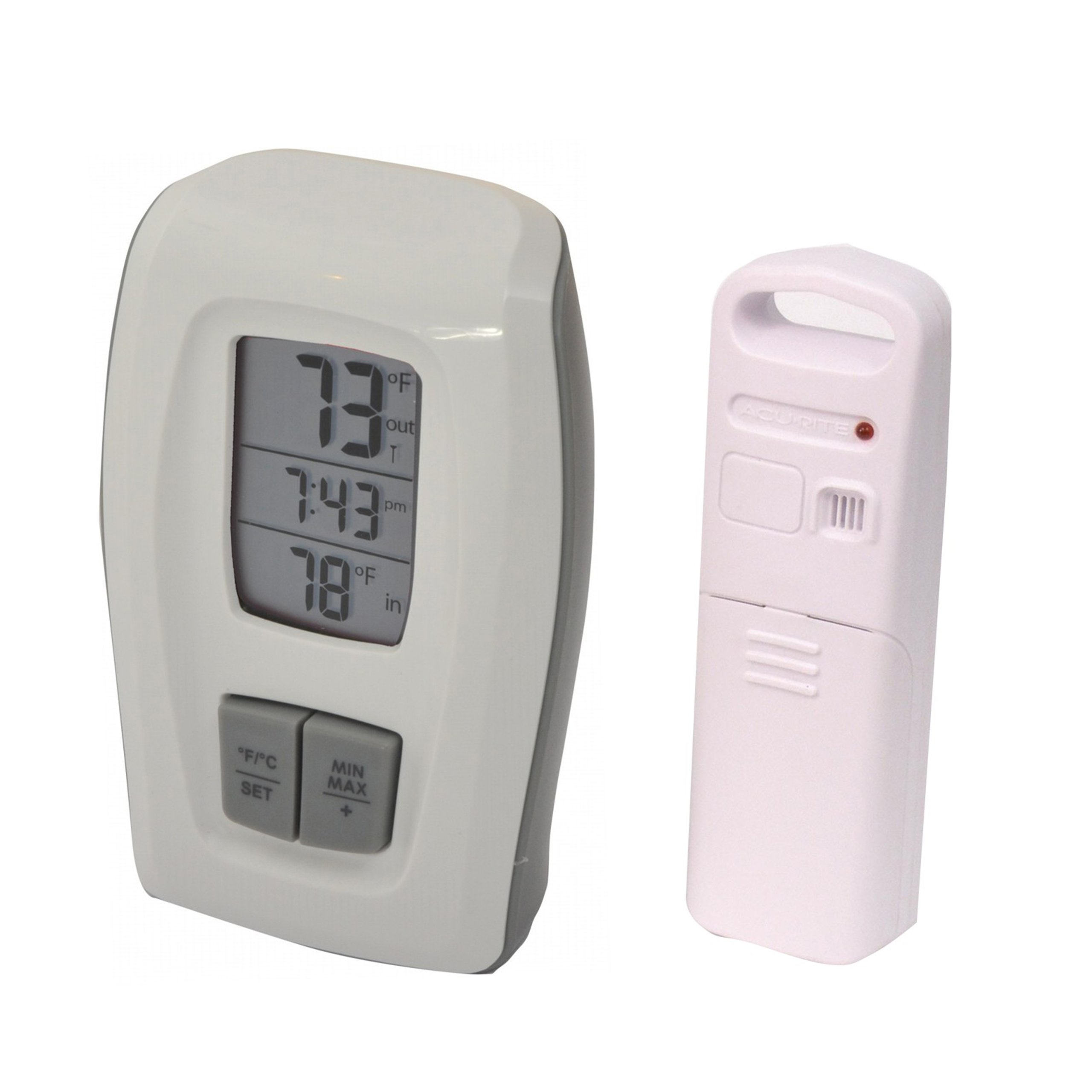 AcuRite 00418 Wireless Thermometer with Clock, White