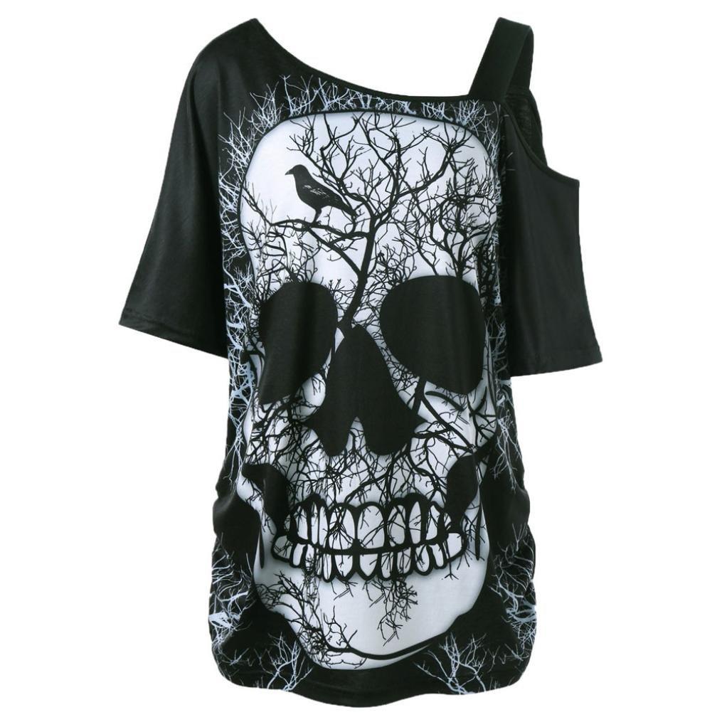❤️ Camiseta de Mujer Camiseta de Calavera, Camiseta de Manga Corta Cuello Inclinado Camiseta de Blusa Hombro Blusa Absolute