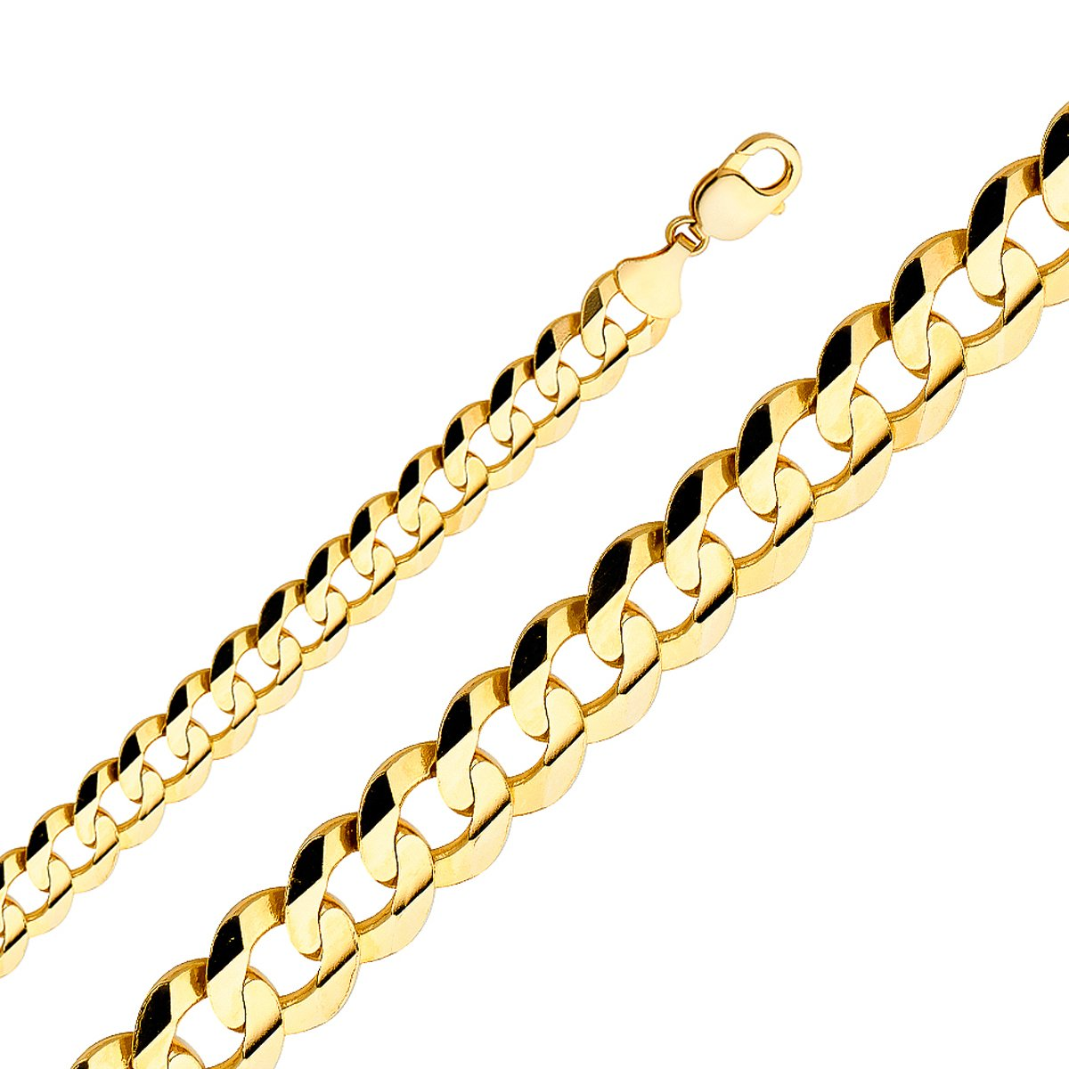 TGDJ 14k Yellow Gold 14 mm Cuban Concave Chain - 9/24/26'' (24 Inches)