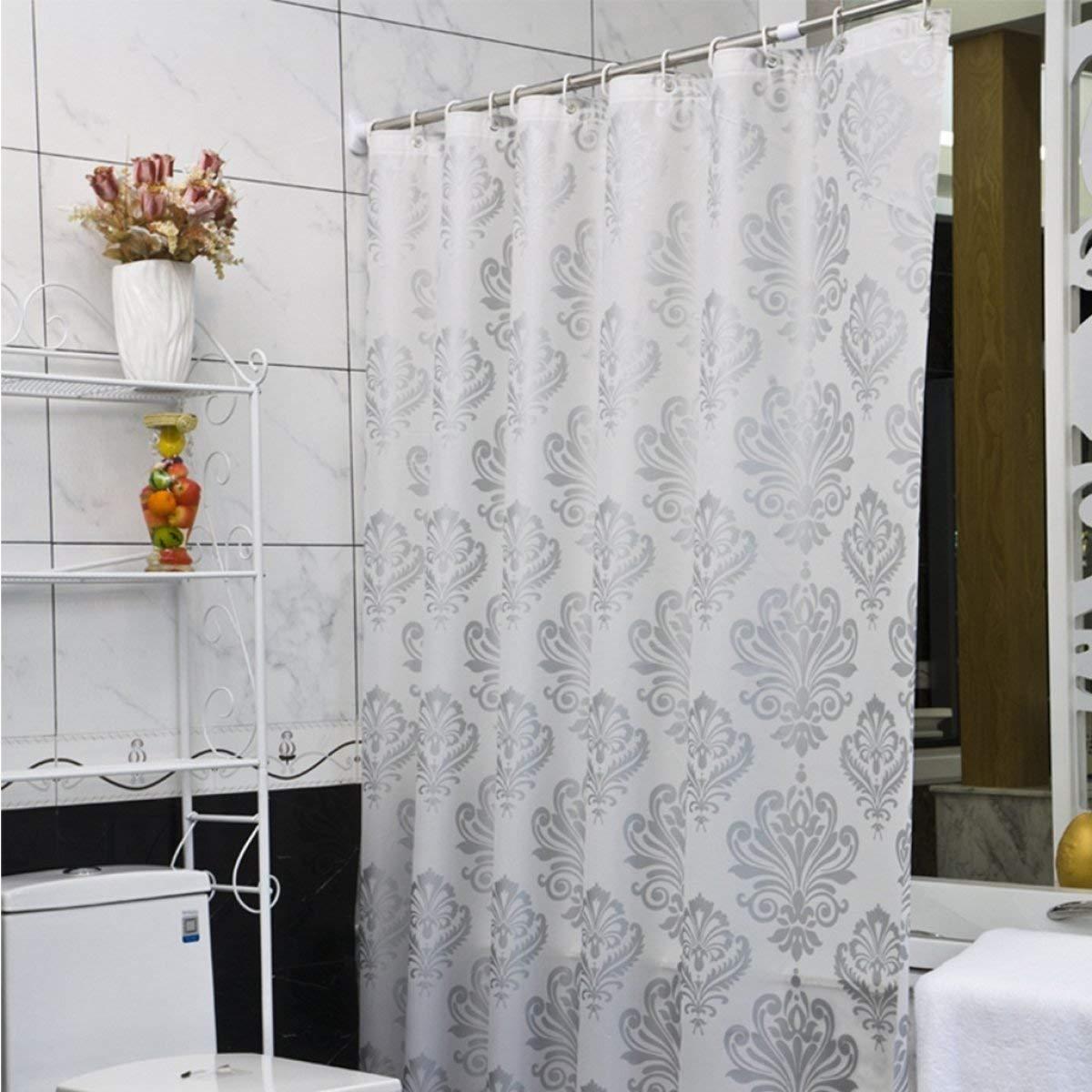 Der European Pastoral Style Foggy Translucent Matt Thickening EVA Bathroom Free Punching Shower Curtain Waterproof and Mildew Bathroom Accessories (Size : 180cm180cm) by Der (Image #1)