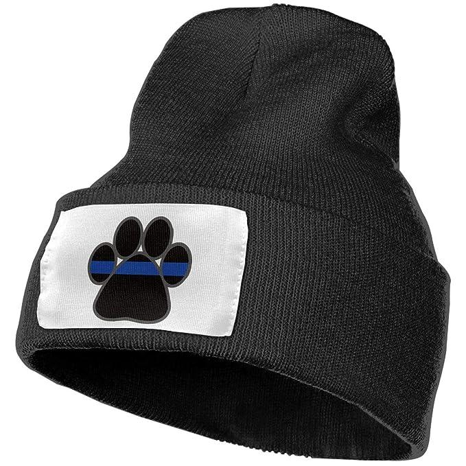 Thin Blue Line Flag Paw Wool Hat Women Men Soft Stretch Knit Beanie ... da6cd6e36f0