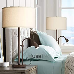 Traverse Modern Table Lamps Set of 2 with USB Charging Port Gooseneck LED Bronze Oatmeal Shade for Living Room