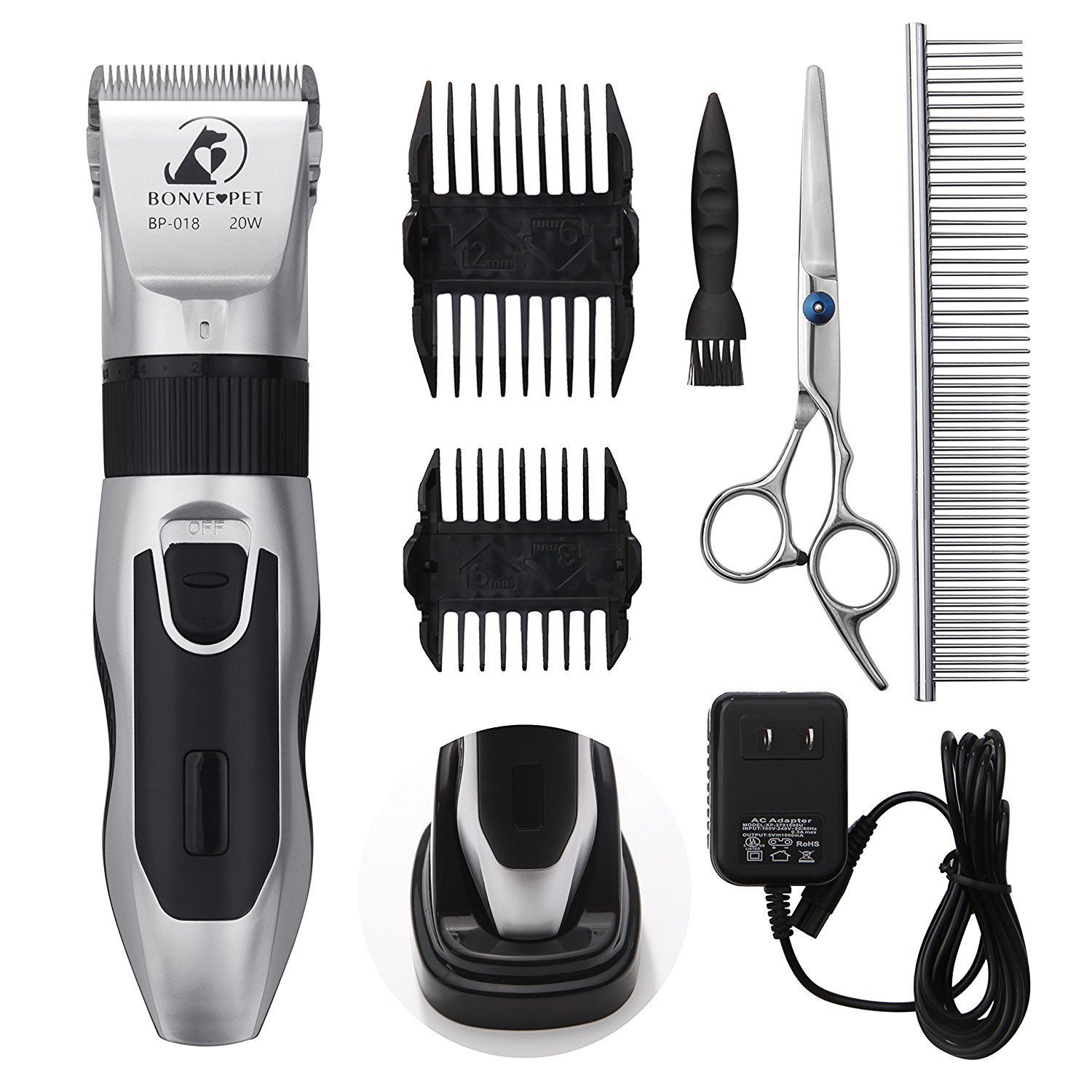 Dog Grooming Clippers - Cordless Quiet Pet Hair Clippers Trimmer Rechargeable with Stainless Steel Blades Dog Comb Shears Best Professional Hair Clipper Set for Dogs Cats Pets Long Short Hair