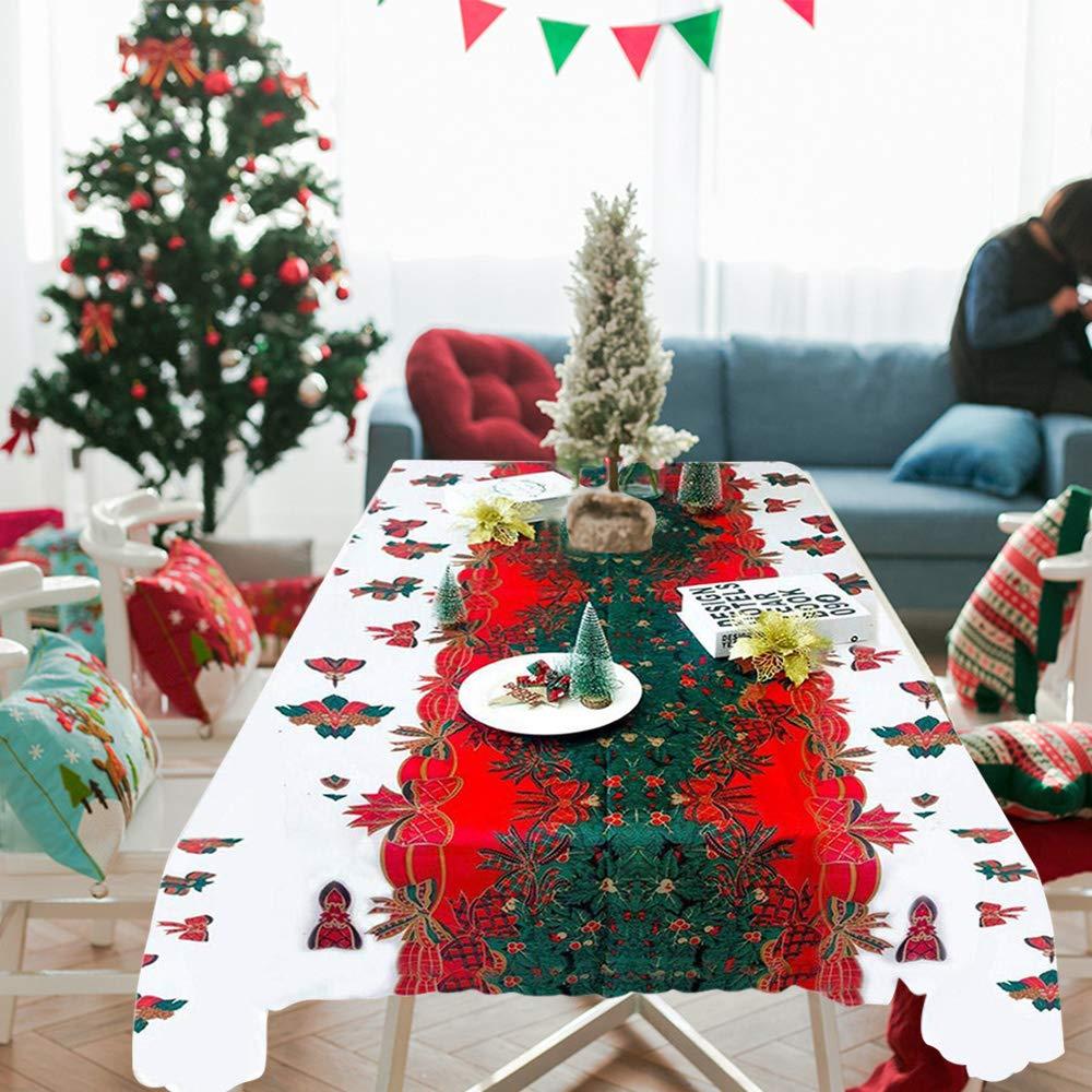 180 cm Tomkity Mantel de Navidad para Decoraci/ón Navidad Hogar Mesa Arbol de Navidad Rectangular 150