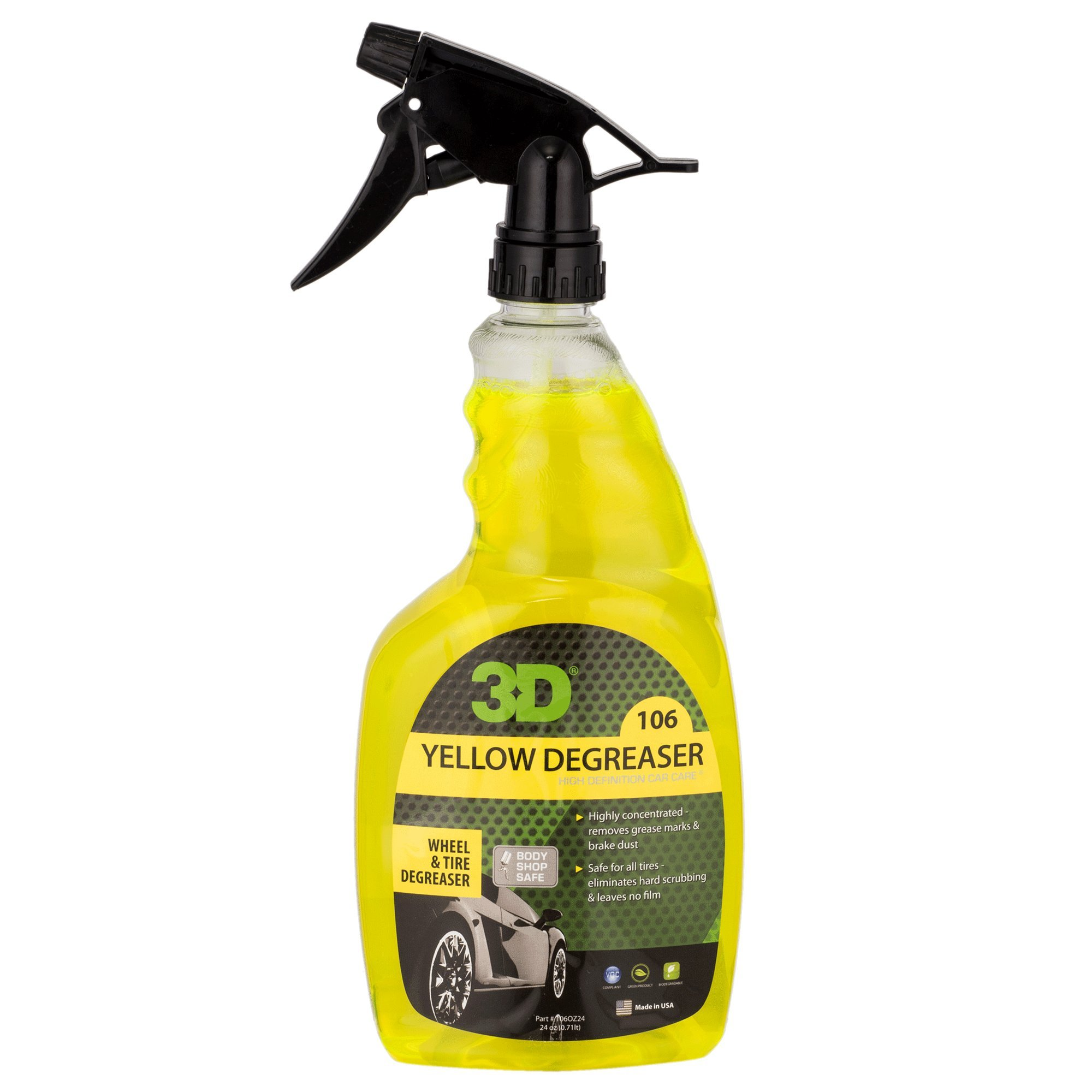 3D Yellow Degreaser Wheel & Tire Cleaner - 24 oz. | Highly Concentrated Degreaser &