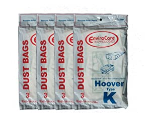 12 Type K Vacuum Bags Replace 4010028K 4010100K H-4010100KES Fit Hoover Spirit Encore Supremacy Canisters