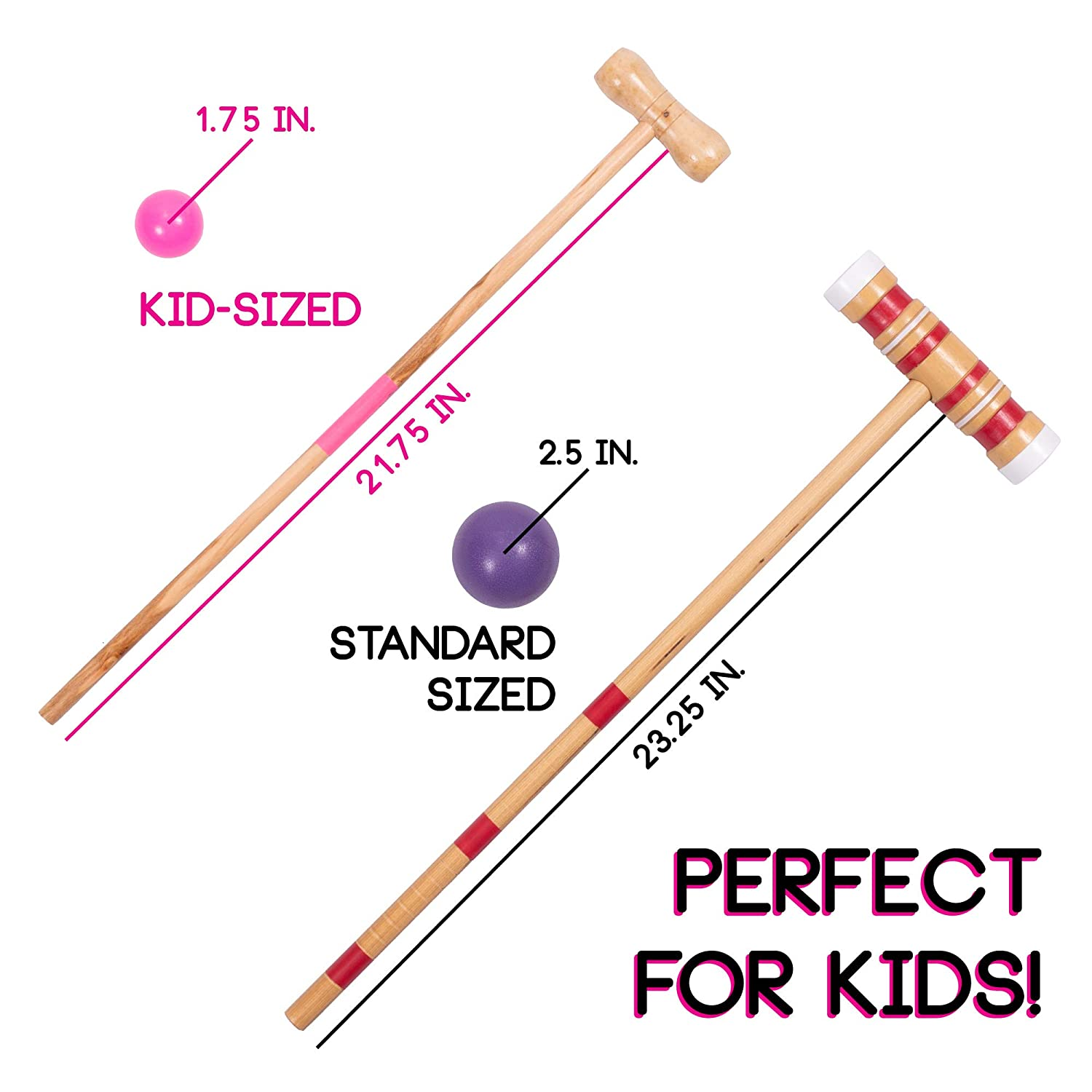 Wickets Great for Birthday Parties Kids Croquet Set for 4-Players BBQs Picnics Classic Outdoor Lawn Game for Children and a Carrying Bag for Portability and More Comes with Mallets Balls