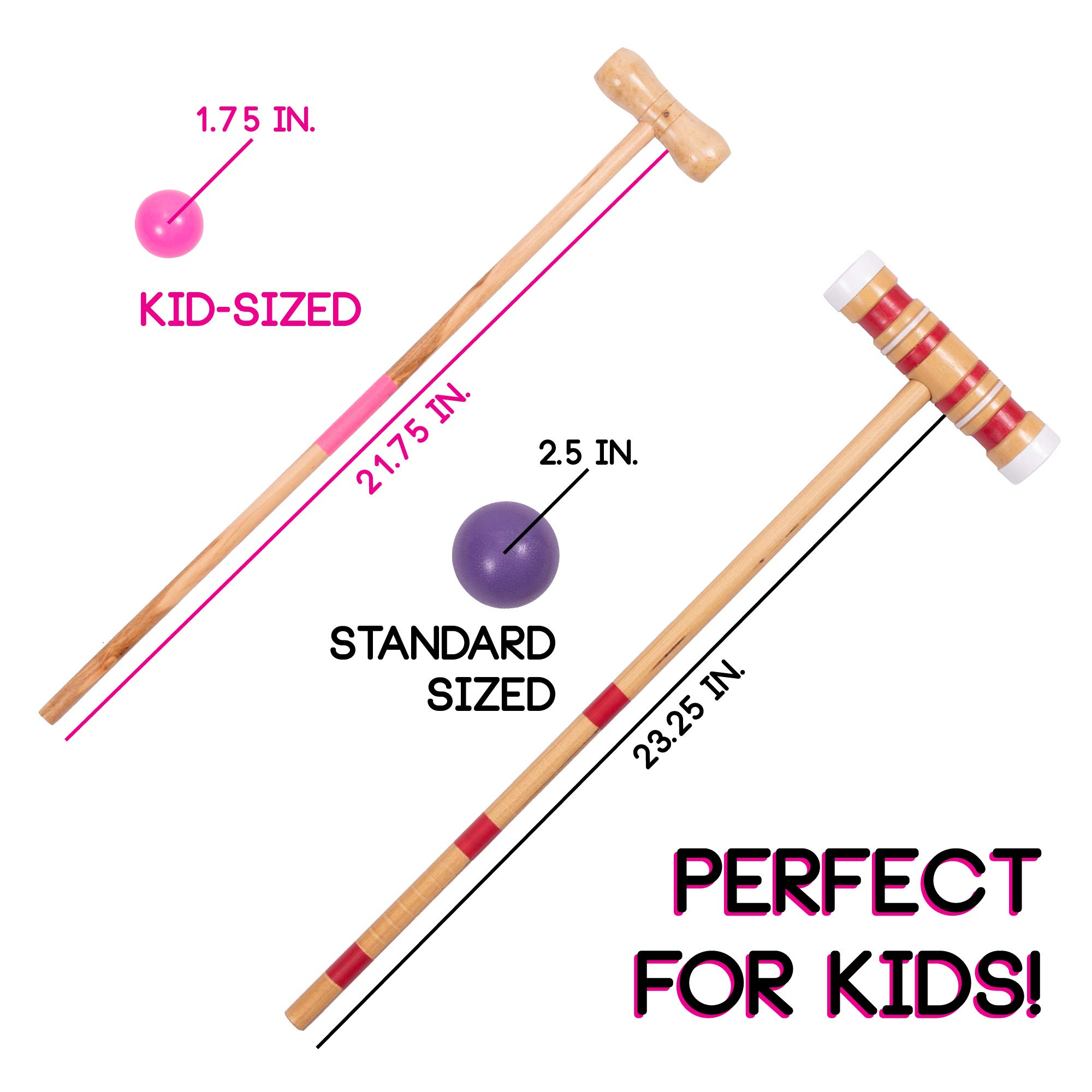 Kids Croquet Set for 4-Players | Classic Outdoor Lawn Game for Children | Great for Birthday Parties, Picnics, BBQs, and More | Comes with Mallets, Balls, Wickets, and a Carrying Bag for Portability by Crown Sporting Goods (Image #6)