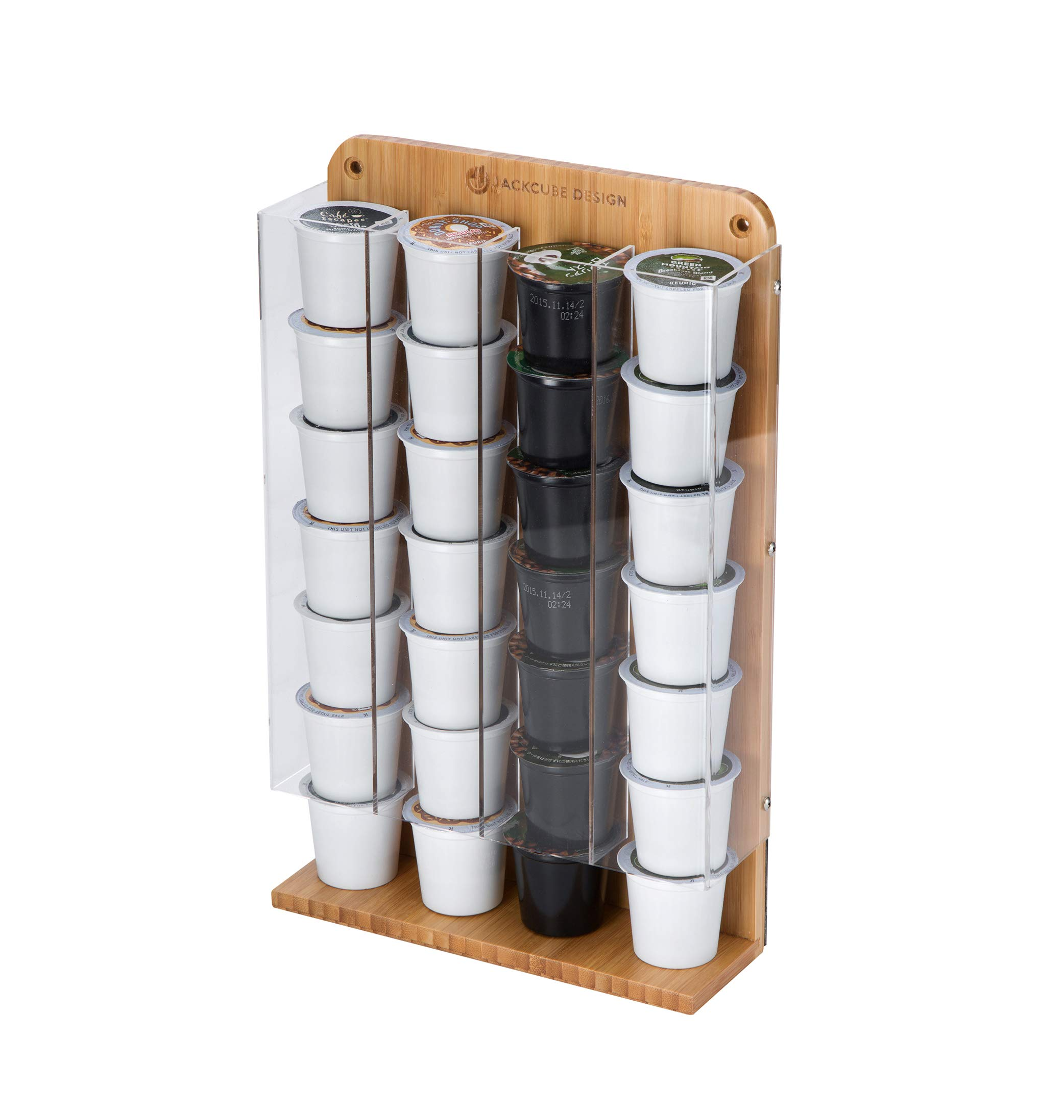 Wall Mount K Cup Coffee Dispenser Organizer with Magnet(Bamboo-MK189D)