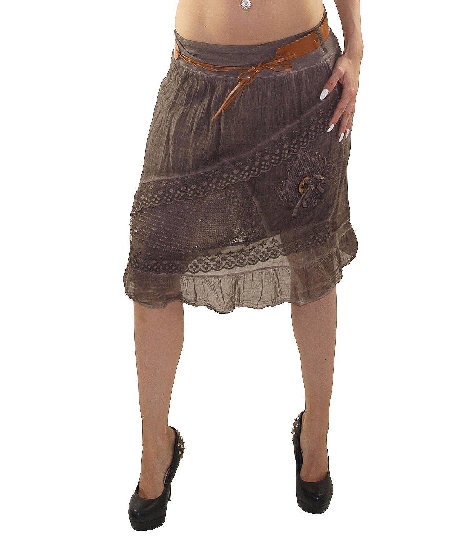 schöner Damen Rock knielang Strandrock Sommerrock Stufenrock Glockenrock mit Gürtel optimal für Sommer und Frühjahr DMR002