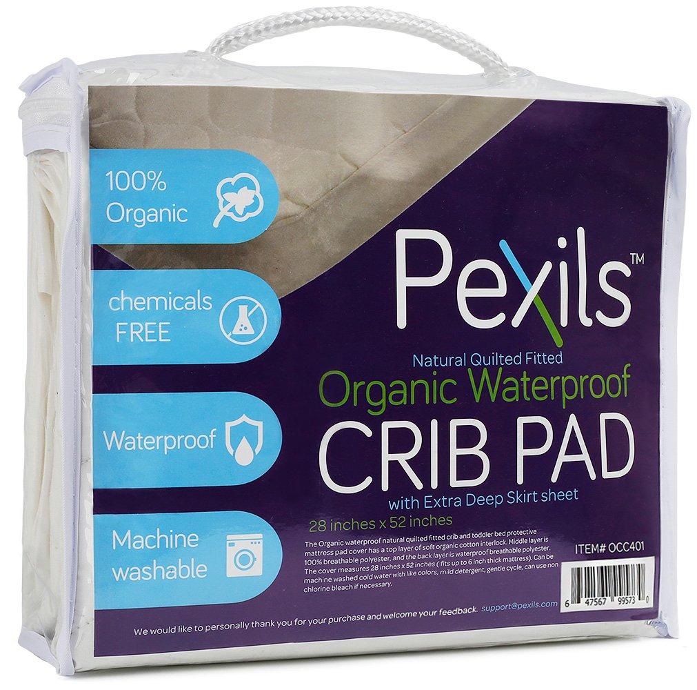 Pexils Premium Natural Organic Waterproof Quilted Crib Mattress Pad Protector Fitted and Crib Sheet by Pexils