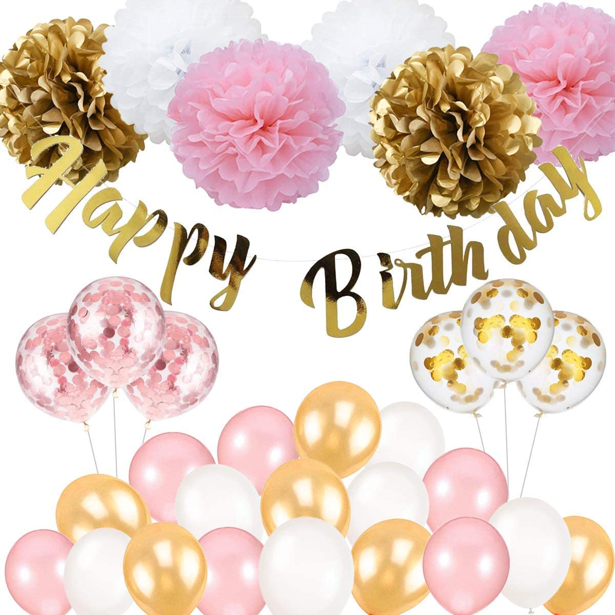 Birthday Decoration, Happy Birthday Banner, Tissue Flower, Confetti Balloons for 16th 18th 21st 30th 50th 60th Birthday Party Decoration for Women Girls