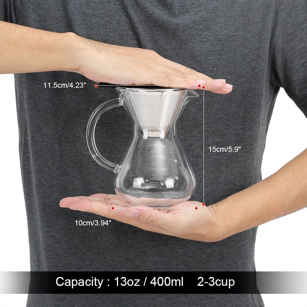 Cafeti/ère En Verre ASHATA Pitcher Caf/é Cafeti/ère Manuelle pour Over avec Filtre Permanent en Acier Inoxydable avec la ligne d/échelle sur la bouteille