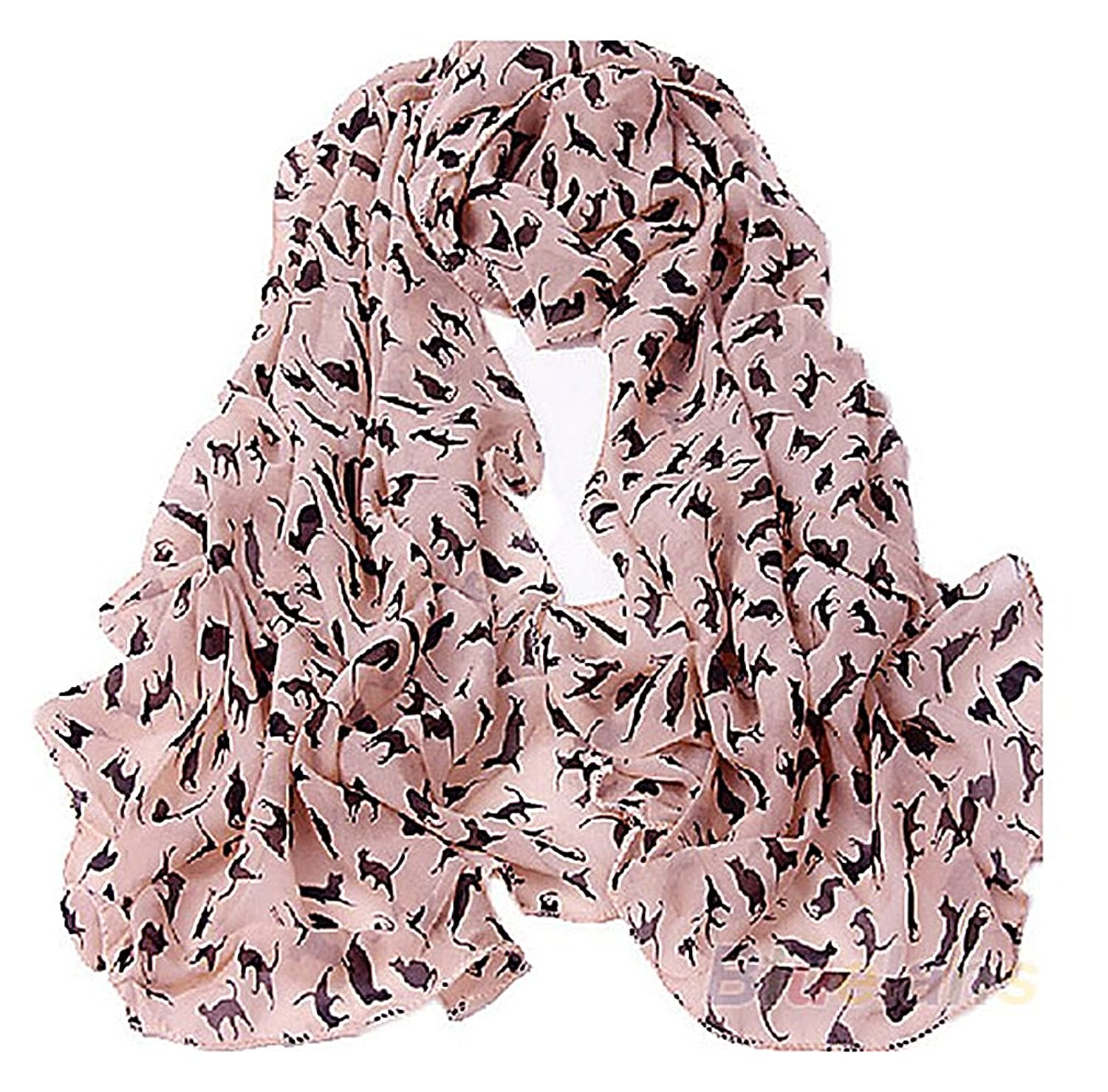 US&R Women's Classic Light Colorful Kitty Printed Scarf Long Wrap