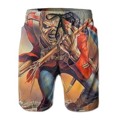 40b653d79f Colorful Footprint The Trooper Iron Maiden Men's Boys Beach Shorts Miles Swim  Trunks 3D Print White