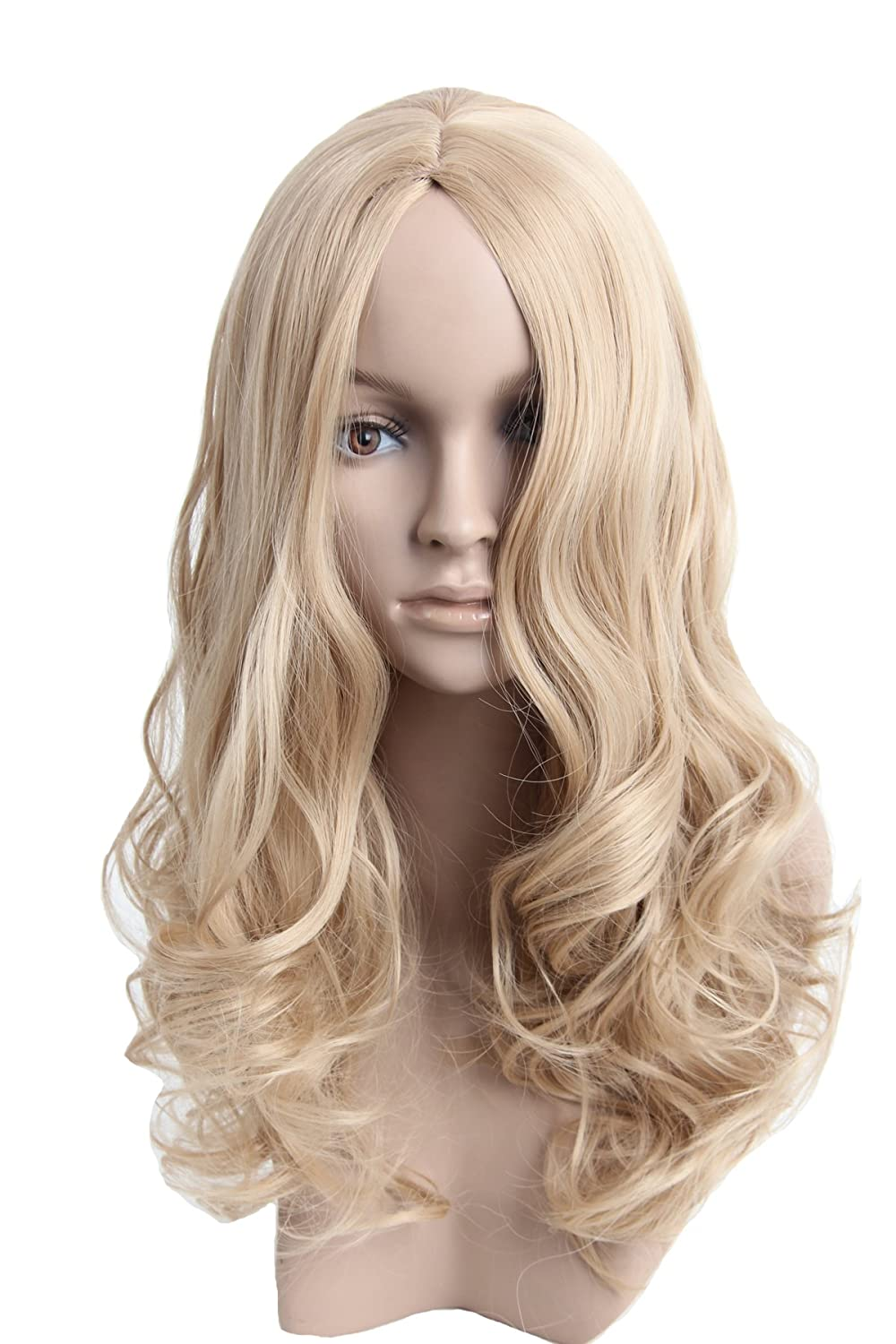 Amazon.com   Angelaicos Womens Natural Looking Curly Straight Hair Full Wig  Long (Blonde)   Beauty 827554ec5499