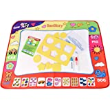 SanGlory Aqua Doodle Mats Magic Water Drawing Mat Large 32x24in Painting Pad with 2 Pens 6 Molds Kids Educational Learning Travel Toy Gift for Boys Girls Toddlers Age 2 3 4 5 + Year Old Toddler Toys