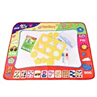 SanGlory Auqa Doodle Drawing Mat 4 Colour Water Doodle Pad Mess Free Painting Writing Scribble Doodle Board with 2 Magic Drawing Pens for Toddlers Kids 80cm x 60cm