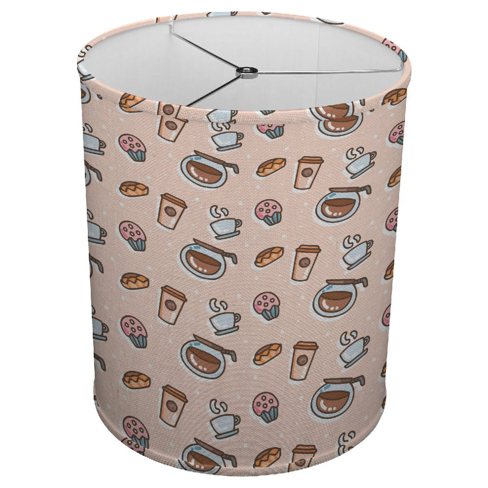 Hardback Linen Drum Cylinder Lamp Shade 8'' x 8'' x 8'' Spider Construction [ Coffee Cup Love Retro ]
