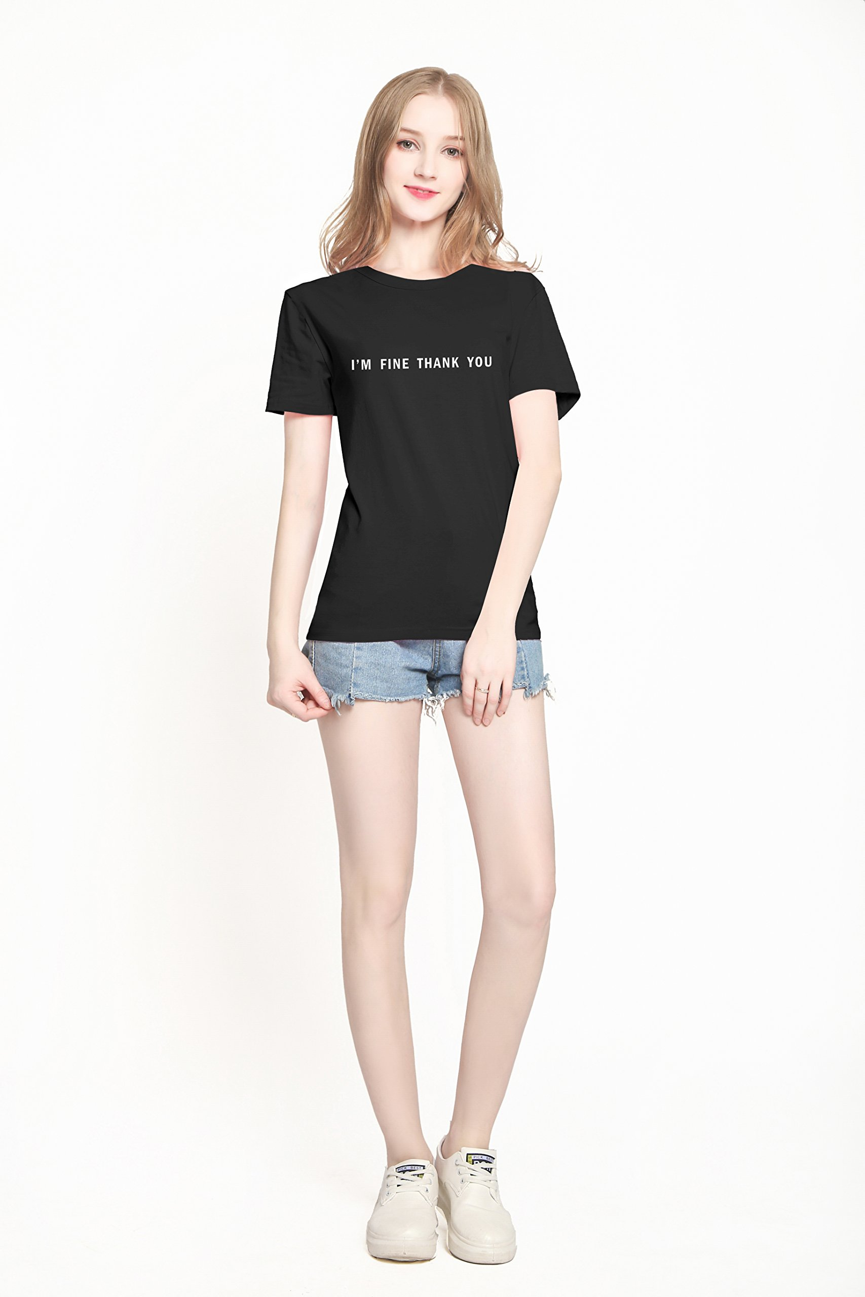 PINJIA Womens Cute Letter Printed Graphic Funny Tshirts Top Tees(MX15)(M,Black I'm FINE) by PINJIA (Image #2)