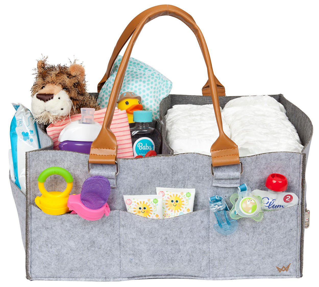 "Baby Diaper Caddy Organizer Extra Large 17"" x 11"" x 8"" Water Resistant Lining 2 Large Zipper Pockets for Valuable Items Baby Shower Gift Basket Newborn Registry Must Haves AVC Empire"