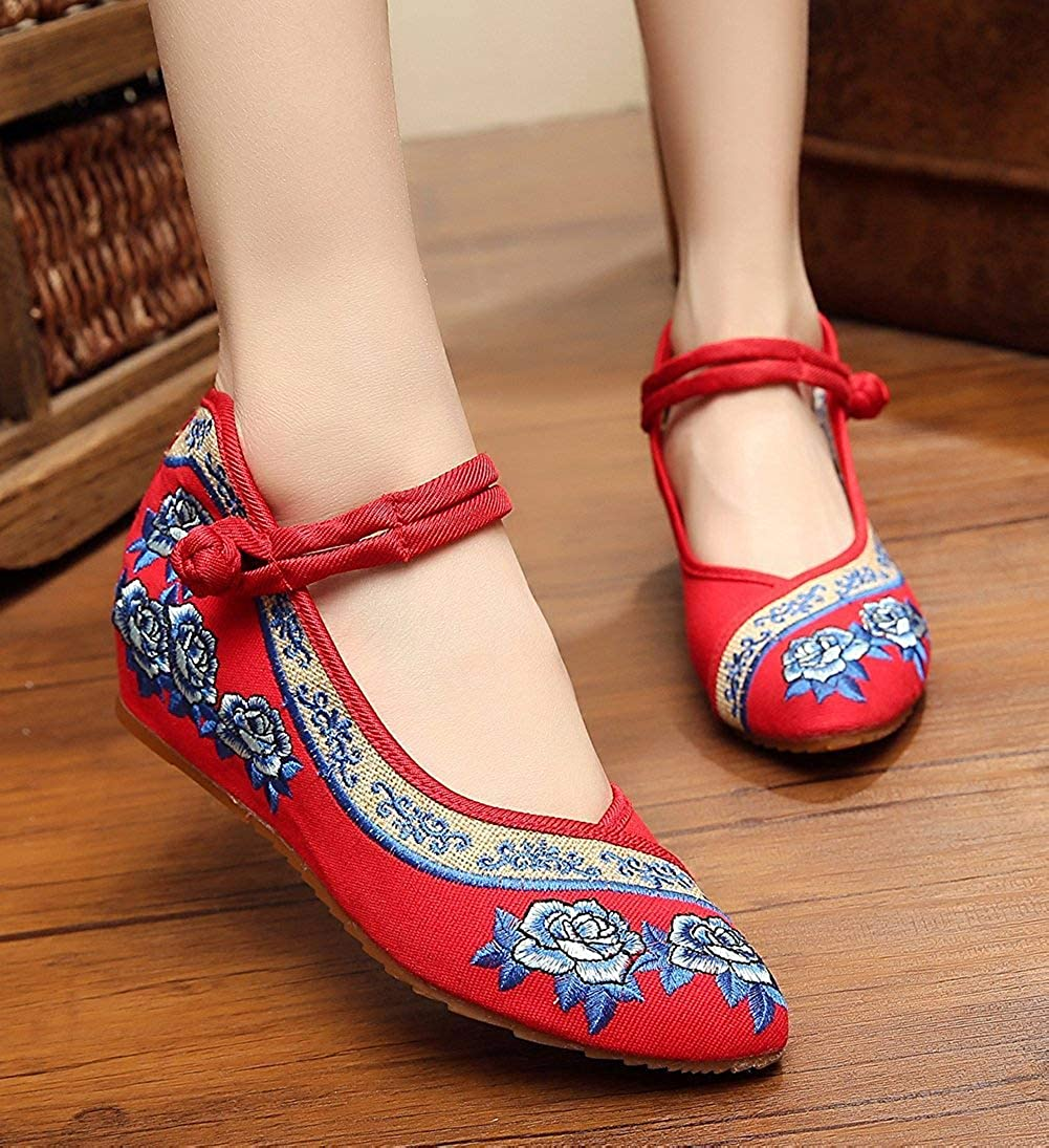 Unm Womens Rose Embroidery Point Toe Wedges Shoes for Qipao Dress