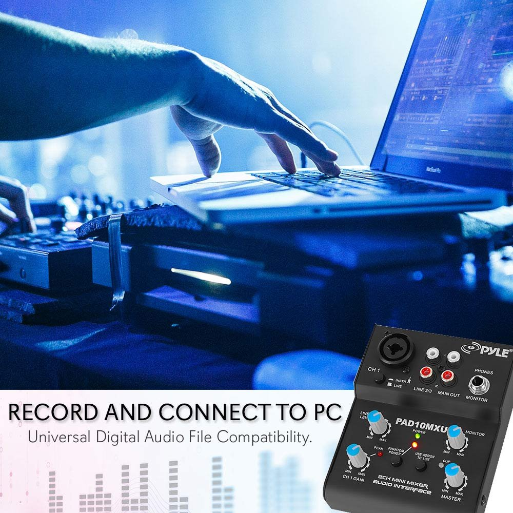 Pyle 2 Channel Audio Mixer Dj Sound Controller With One Transistor Interface Usb Soundcard For Pc Recording Xlr And 35mm Microphone Jack 18v Power
