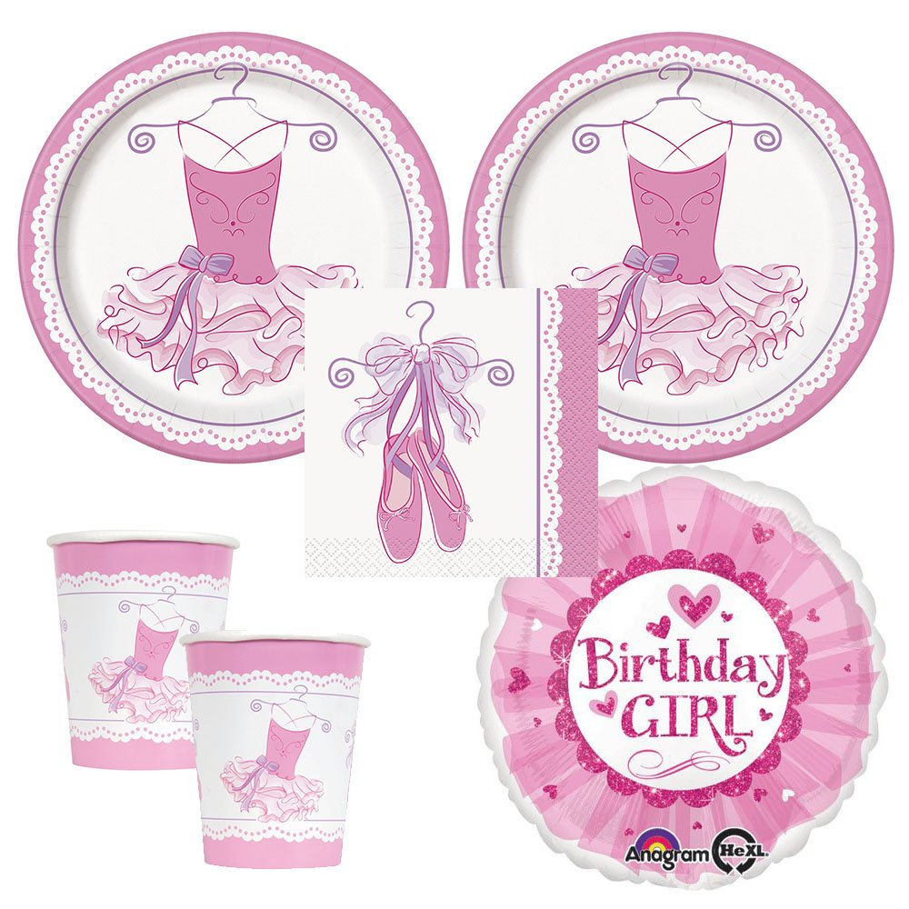 Amazon.com: Ballerina Tutu Party supplies 16 guests, dinner plates ...