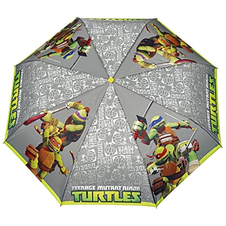 Paraguas para niños Tortugas Ninja Perletti – Paraguas para niños Plegable, Ligero y Resistente –