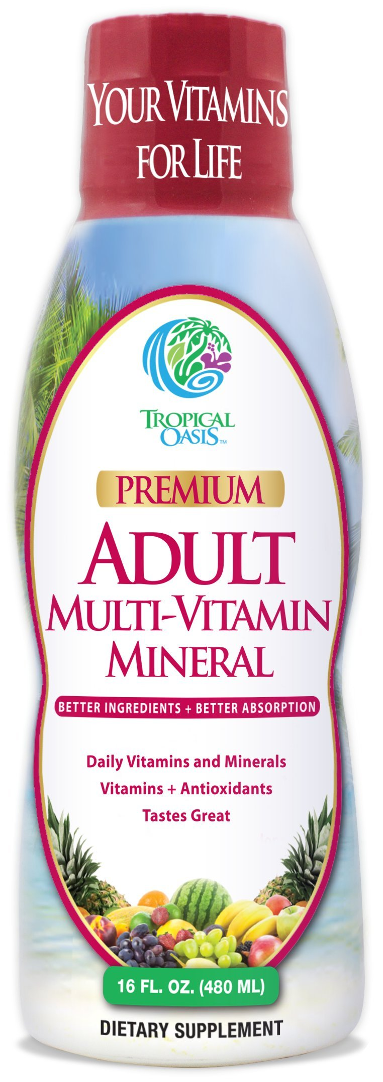 Tropical Oasis Adult Liquid Multivitamin -Liquid Multi-Vitamin and Mineral Supplement with 125 Total Nutrients including; 85 Vitamins & Minerals, 23 Amino Acids, and 18 Herbs -- 16 fl oz, 32 serv