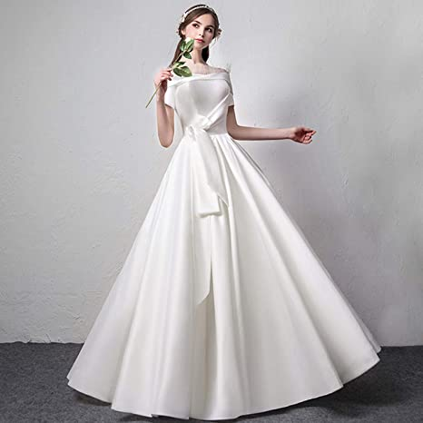 CJJC Bride Satin Wedding Dresses Simple Elegant Princess Dream Floor Length  Slim Dresses Ideal For Women