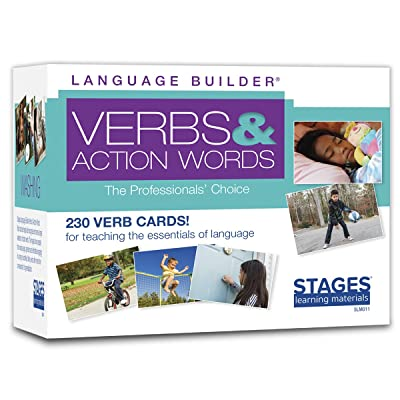Stages Learning Materials Language Builder Verb Flash Cards Photo Vocabulary Autism Learning Products for Aba Therapy & Speech Articulation: Toys & Games