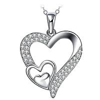 Collier, ZHULERY Argent 925 Bijoux Femme/Fille Pendentif idéal 5A Zirconium cubique, Chaîne 45+5cm Cadeau avec paquet exquis Amour