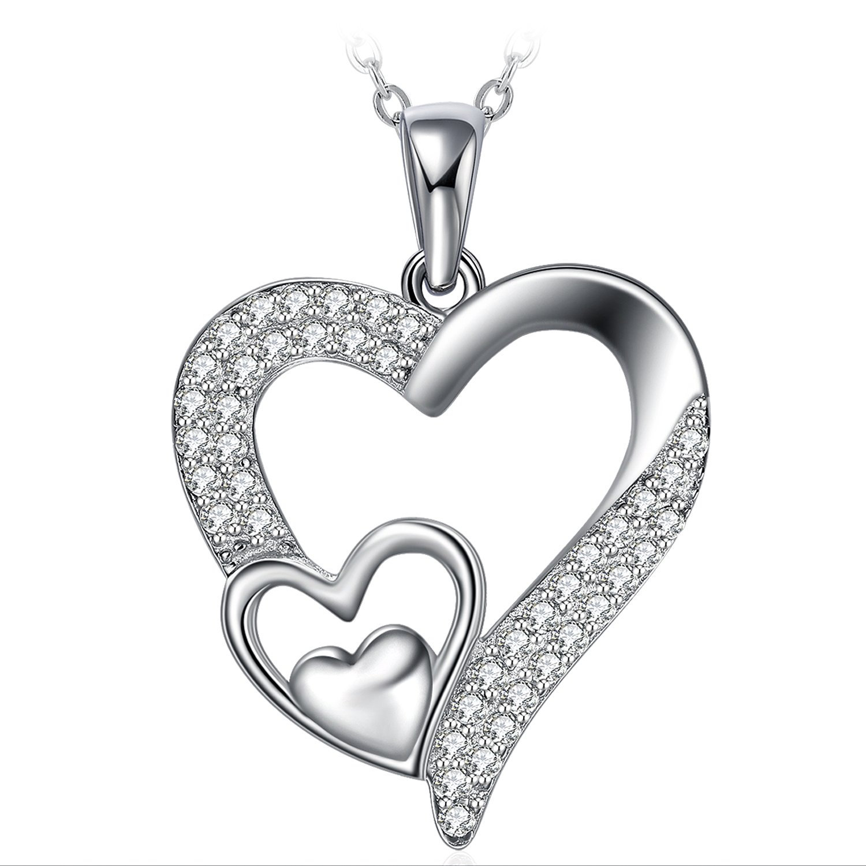 ZHULERY Plata de Ley 925 Collar Mujer, Collar Embalaje de caja de regalo El mejor regalo, Regalo de Graduación 45+5 cm
