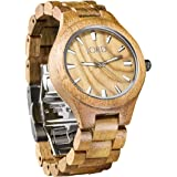 JORD Wooden Wrist Watches for Men or Women - Fieldcrest Series / Wood Watch Band / Wood Bezel / Analog Quartz Movement - Includes Wood Watch Box (Koa & Burl)